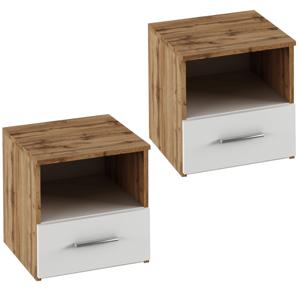 Nočný stolík, 2 ks, dub wotan/biela, GABRIELA