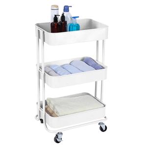 3-poschodový vozík, biela, RUDIN