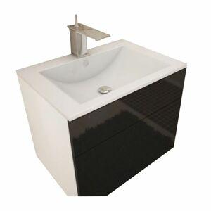Skrinka pod umývadlo, biela/čierna extra vysoký lesk HG, MASON BL13