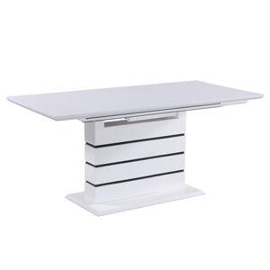 Jedálenský stôl, rozkladací, biela s vysokým leskom HG, MEDAN, rozbalený tovar