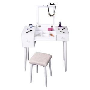 Toaletný stolík, toaletka, biela/hnedá, MARVEL