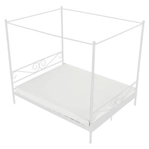 Kovová posteľ s nebesami, biela, 160x200, ABENA