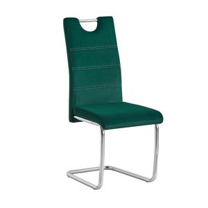 Jedálenská stolička, smaragdová Velvet látka/svetlé šitie, ABIRA NEW