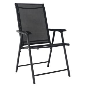 Skladacia zahradná stolička, čierna, Adola R1, rozbalený tovar