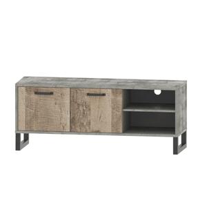 RTV stolík, dub pieskový/sivá, BARIA 2D/140