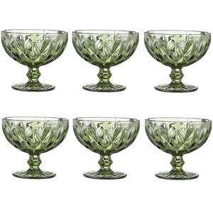 Retro sklené poháre na zmrzlinu, 6ks, 300ml, zelená, BAROLO TYP 5
