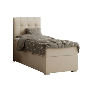 Boxspringová posteľ, jednolôžko, svetlohnedá, 80x200, ľavá, DANY