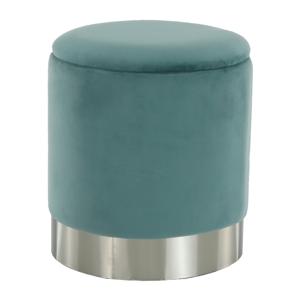 Taburet s úložným priestorom, zelená-mentolová Velvet látka/strieborná chróm, DARON