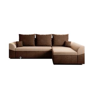 Rozkladacia rohová sedacia súprava, hnedá/béžová, DESNY