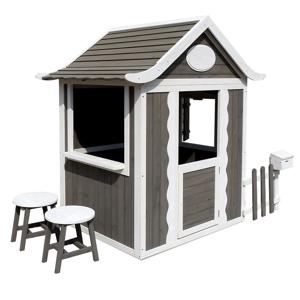 Drevený záhradný domček s taburetmi a poštovou schránkou, sivá/biela, PEOR