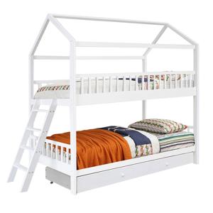 Poschodová posteľ, biela, 90x200, EVALIA