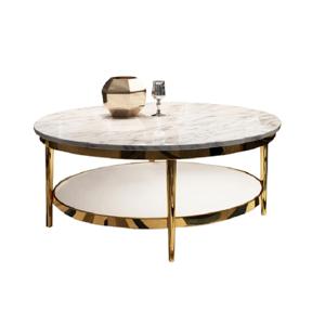 Konferenčný stolík, svetlý mramor lesklý/leská biela/zlatá, ENION