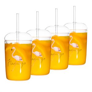 Termo poháre, set 4 ks, na drink, s vrchnákom a slamkou, 350 ml, HOTCOLD TYP 16