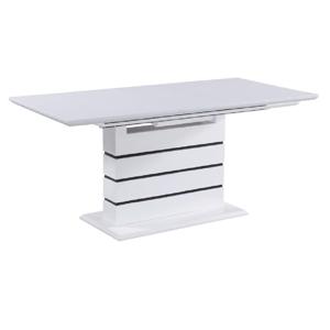 Jedálenský rozkladací stôl, biela s vysokým leskom HG,  MEDAN, poškodený tovar