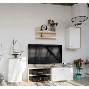 Obývacia stena, dub sonoma/biela, KARSTEN