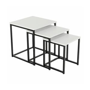 Set 3 konferenčných stolíkov, biela matná/čierna, KASTLER TYP 3