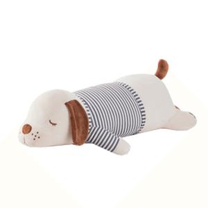 Plyšový psík, biela/hnedá/sivý pásik, 92cm, KINGO typ 2