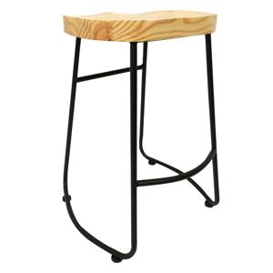 Barová stolička, dub/čierna, NIKLA