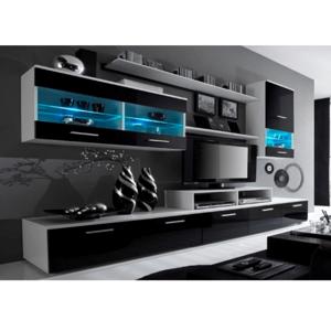 Obývacia stena, biela/čierna extra vysoký lesk HG, LEO, rozbalený tovar