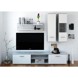 Obývacia stena, betón/biela, WAW NEW