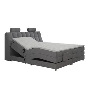Elektrická polohovacia posteľ, boxspring, sivá, 180x200, POLERMA
