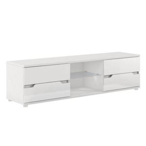 RTV stolík, biela/biela s extra vysokým leskom, ADONIS AS 30