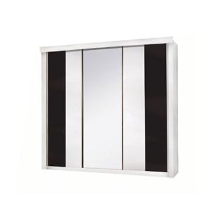 3-dverová skriňa, biela/čierna, RUBLIN