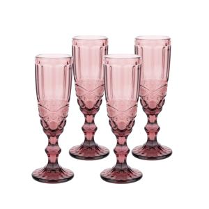 Vintage poháre na šampanské, 4ks, 150ml, červená, SAVOY TYP 4