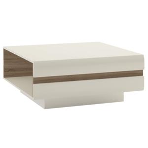 Konferenčný stolík, biela extra vysoký lesk HG/dub sonoma tmavý truflový, LYNATET TYP 70, rozbalený tovar