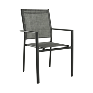Záhradná stohovateľná stolička, sivá/čierna, TELMA