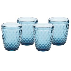 Poháre na vodu, set 4 ks, 240 ml, modrá, retro, VERITAS TYP