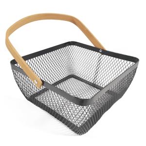 Kovový košík s rúčkou, čierna, KITEN TYP 3
