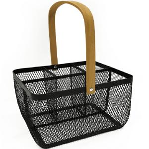 Kovový košík s rúčkou, čierna, KITEN TYP 2