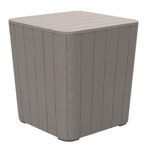 Záhradný úložný box/príručný stolík, sivá, IBLIS